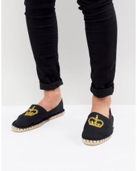 ASOS - Espadrilles In Black Canvas With Crown Embroidery - Lyst