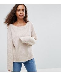 ASOS - Sweater With Slash Neck In Boucle Yarn - Lyst