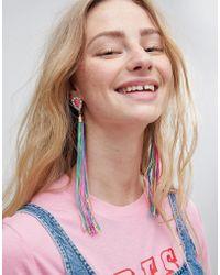 ASOS - Asos Statement Jewel Stone And Multicolor Tassel Earrings - Lyst