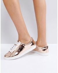 Faith | Rose Gold Lace Up Trainers | Lyst