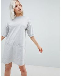 3955feee7b ASOS Asos Design Curve Boyfriend T-shirt Dress With Pocket in Gray ...
