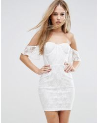 Naanaa - Off Shoulder Lace Bodycon Dress With Corset Detail - Lyst
