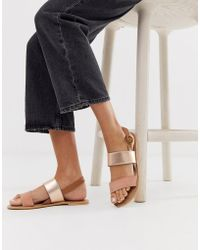 Accessorize - Exclusive Rose Gold Leather Summer Flat Sandals - Lyst