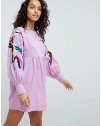 Free People - Mini Obsessions Floral Mutton Sleeve Dress - Lyst
