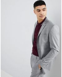 Boohoo - Skinny Fit Suit Jacket In Gray Check - Lyst