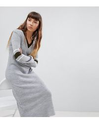 eceb181d52 Daisy Street - Sweater Dress With Contrast Stripe Sleeve - Lyst