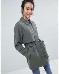 Monki - 2 Part Button Up Coat - Lyst