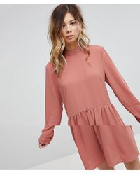 Pieces - Bow Smock Dress - Lyst
