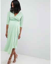ASOS - Asos Design Maternity Midi Shirt Dress With Safety Pin - Lyst