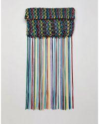 ASOS - Design Multi Colored Tassel Clutch Bag - Lyst