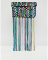 ASOS - Multi Coloured Tassel Clutch Bag - Lyst