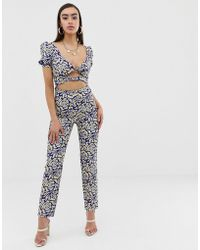 45cead3178b Lioness - Off Shoulder Jumpsuit With Double Tie Front In Geometric Print -  Lyst