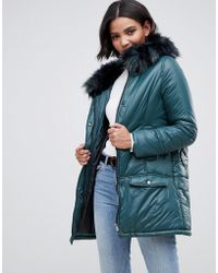 Urbancode Parka Coat With Onion Quilting And Faux Fur Hood