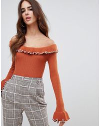 Fashion Union - Off Shoulder Sweater With Crinkle Hem - Lyst