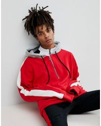 Sixth June - Oversized Hoodie In Red With Half Zip And Stripe - Lyst
