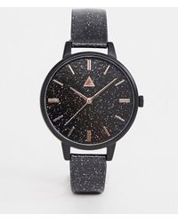 ASOS - Watch In Midnight Blue Glitter With Rose Gold Details - Lyst