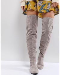 Daisy Street - Lace Back Gray Over The Knee Boots - Lyst
