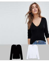 fd1b359dd61789 ASOS - Asos Design Petite Ultimate Top With Long Sleeve And V-neck 2 Pack