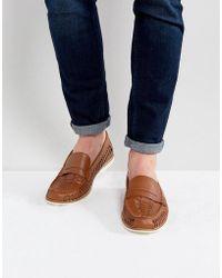 KG by Kurt Geiger - Kg By Kurt Geiger Woven Loafers In Tan Leather - Lyst