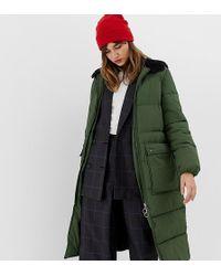 Stradivarius - Hooded Maxi Puffer Coat In Green - Lyst