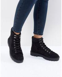 Bershka - Lace Up Chunky Heel Boot - Lyst
