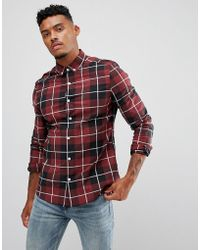 ASOS - Design Skinny Check Shirt In Burgundy - Lyst