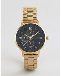 ASOS - Design Gold Plated Skinny Bracelet Watch With Sub Dials - Lyst