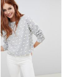 New Look - Brushed Jumper With Polka Dot Pom Poms In Grey - Lyst
