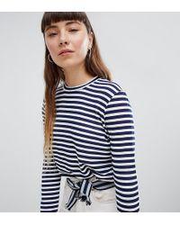 Daisy Street - Relaxed Long Sleeve T-shirt In Breton Stripe - Lyst
