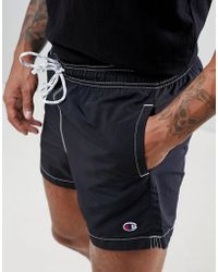 Champion - Swim Shorts With Small Logo In Black - Lyst