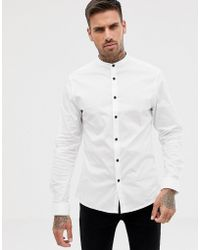 ASOS - Skinny Shirt In White With Grandad Collar And Contrast Buttons - Lyst
