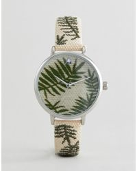 ASOS - Asos Design Curve Embroidered Palm Leaf Woven Watch - Lyst