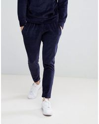 Mango - Man Velvour Jogging Pants In Navy - Lyst