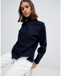 WÅVEN - Eleni Destroyed Denim Funnel Neck Top - Lyst