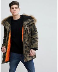 Mango - Man Padded Coat With Faux Fur Hood In Camo - Lyst