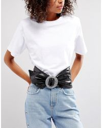 ASOS - 80s Patent Waist Sash Belt With Glitter Buckle - Lyst