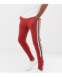ASOS - Tall Retro Track Skinny joggers With Side Stripes And Poppers - Lyst