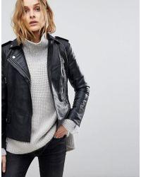 Muubaa - Vila Fitted Cropped Leather Biker Jacket - Lyst