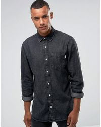 Jack & Jones - Intelligence Relaxed Fit Denim Shirt In Washed Black - Lyst