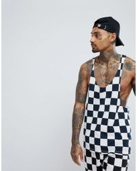 ASOS - Asos Extreme Racer Back Tank With Checkerboard Print Co-ord - Lyst