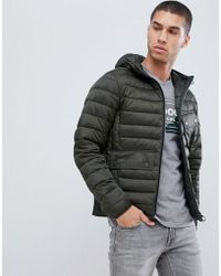 Barbour - Ouston Hooded Padded Jacket In Sage - Lyst