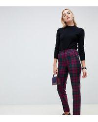 ASOS - Asos Design Tall Slim Cigarette Trousers In Purple Check - Lyst