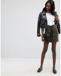 89e632aa7e ASOS Leather Skirt With High Waist Corset Detail in Black - Lyst