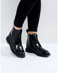 Dr. Martens - Kensington Delphine Brogue Black Lace Up Ankle Boots - Lyst