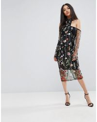 AX Paris - T-bar Long Sleeve Embroidered Floral Choker Dress With 3/4 Mesh Sleeves - Lyst