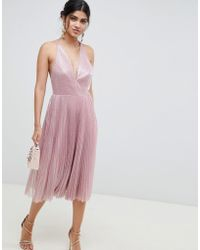 8a9134f84c79 ASOS Faux Feather Trim Sequin Midi Dress in Pink - Lyst