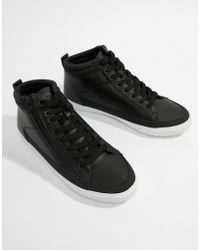 Pull&Bear - High Top Trainer In Black - Lyst