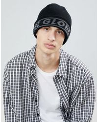 Globe - Knitted Beanie With Jacquard Logo In Black - Lyst