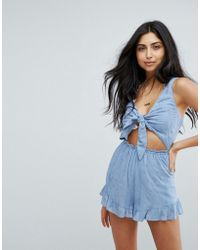Surf Gypsy - Bunny Tie Beach Playsuit - Lyst