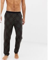ASOS - Woven Straight Pyjama Bottoms In Argyle Check With Bright Orange Highlights - Lyst